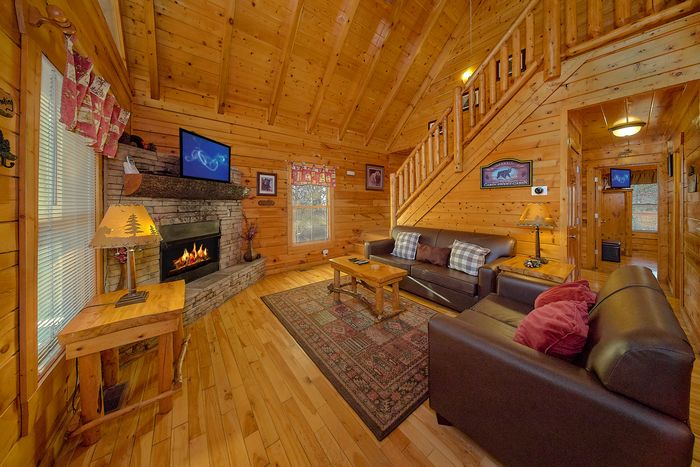 Living Room in Cabin - A Bear Encounter