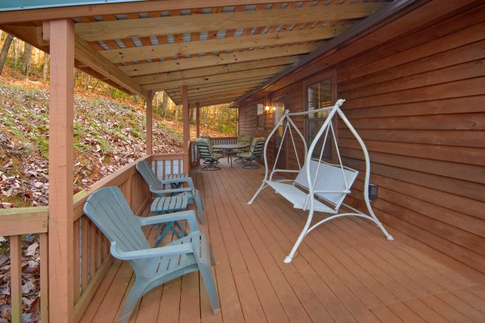 2 Bedroom Cabin with Swing and Picnic Table - A Bear Trax