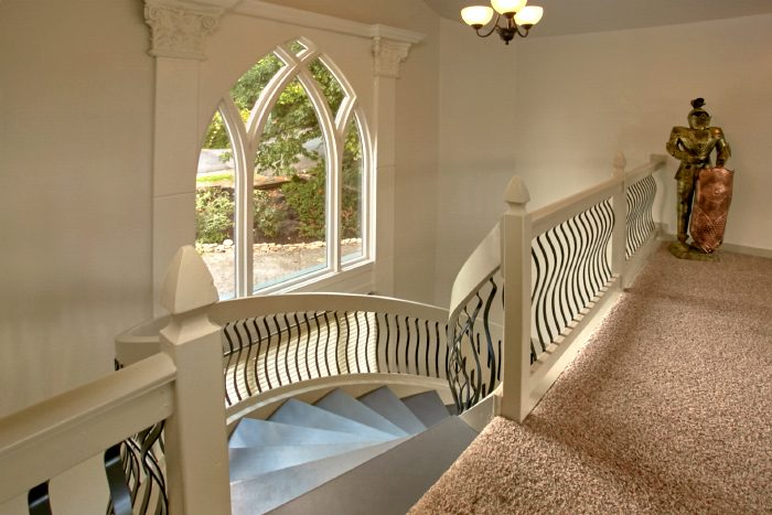 Spiral Staircase and Loft in Luxury Cabin Rental - A Castle in the Clouds