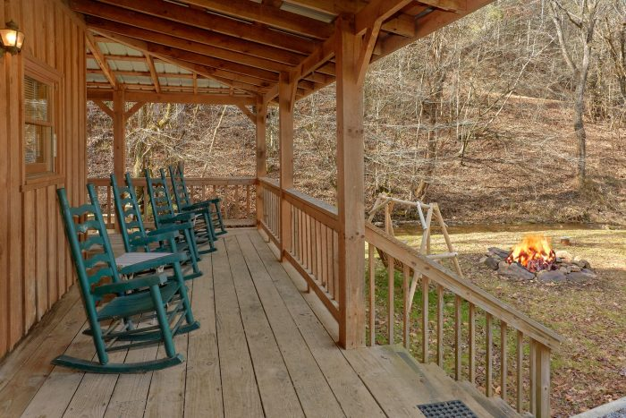 Large Deck with Rocking Chairs 2 Bedroom Cabin - A Creekside Retreat