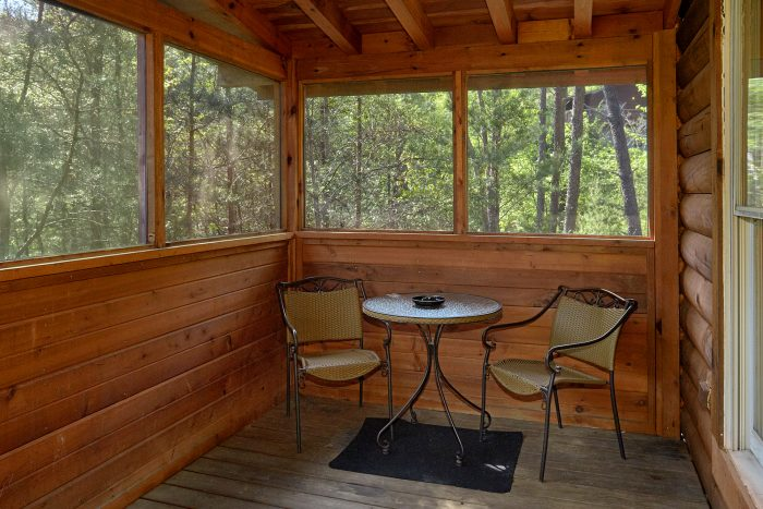 Screened Porch with Hot Tub in 1 Bedroom Cabin - A Gift From Heaven