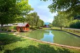 4 bedroom cabin with pond, pool and playground