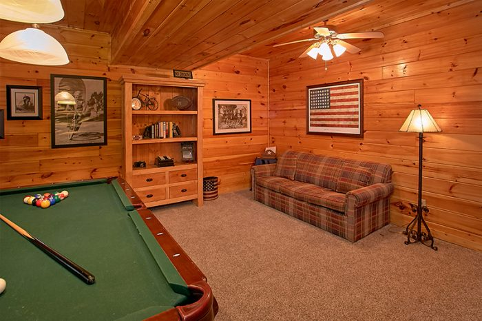 Game Room with Pool Table and Sleeper Sofa - A Smoky Mountain Jewel