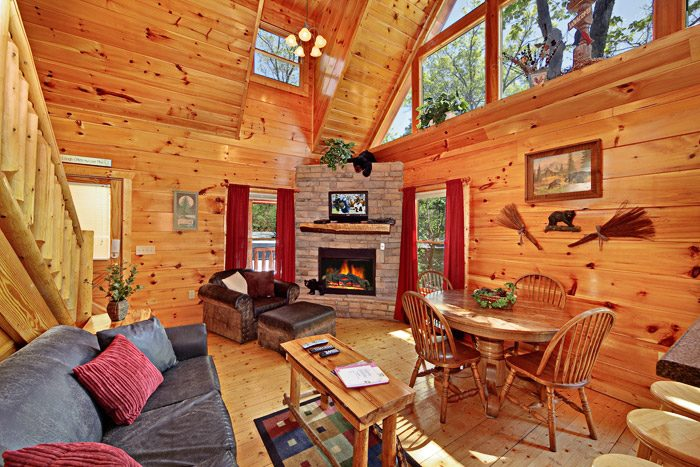 Gatlinburg Cabin with Fireplace in Living Room - A Tennessee Treasure