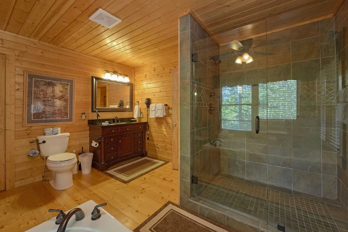 Master Bath with Stone shower and Jacuzzi Tub - Angel's Landing