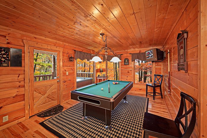 Pool Table in Gatlinburg Cabin Rental - Antler Ridge