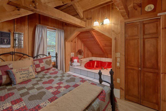 Heart Shape Jacuzzi Tub 1 Bedroom Cabin - Bare Tubbin