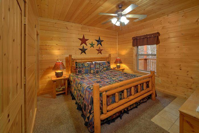 Smoky Mountain Cabin Lower-Level Bedroom - Bear Creek Lodge