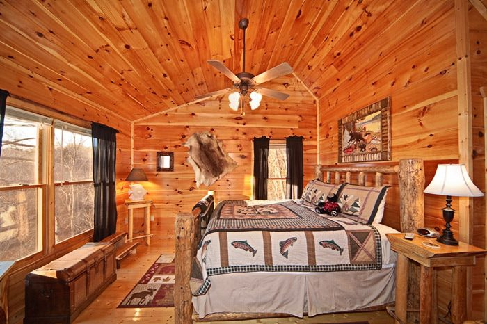 King Bedroom in Loft of Gatlinburg Cabin - Bear Footin In The Smokies