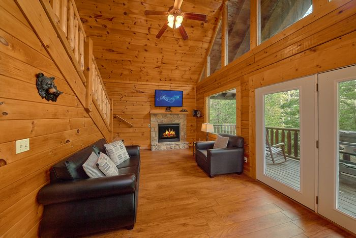 Living Room with Deck Access - Bear Shack