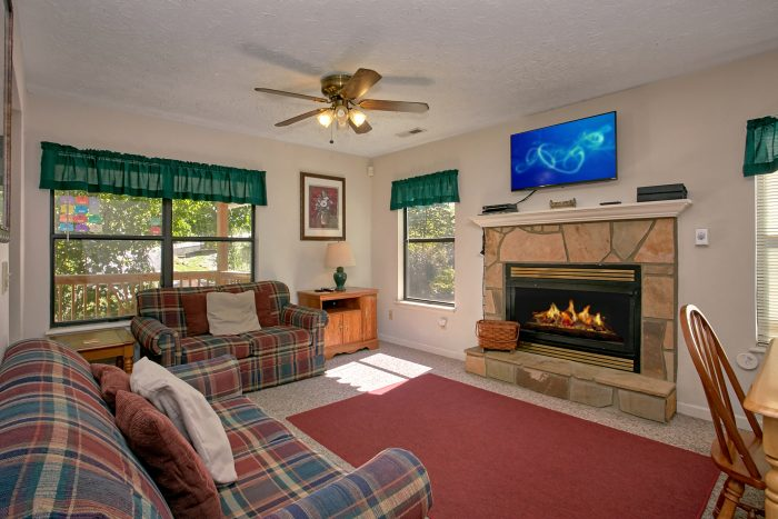 Fully Furnished Living Room with Cozy Fireplace - Bear Walk Chalet