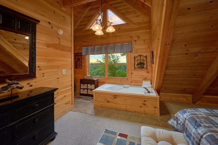 Master Bedroom with King Bed and Jacuzzi - Bearly Rustic
