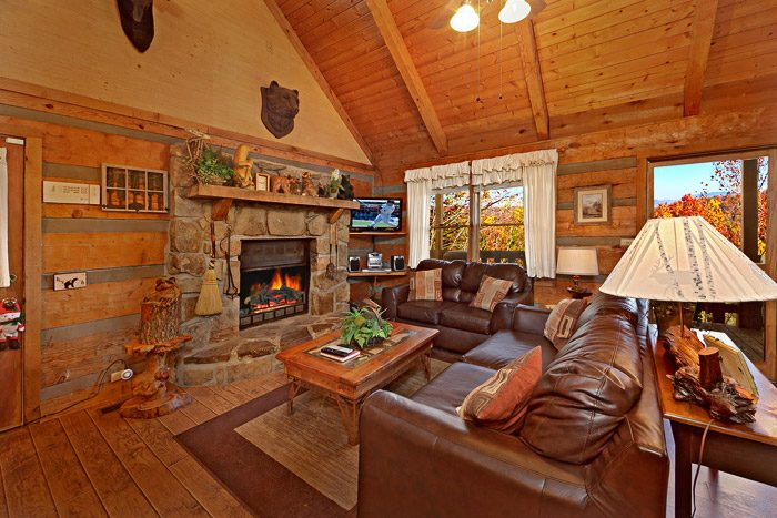Spacious Cozy Living Room with Fireplace - Bears Den 2