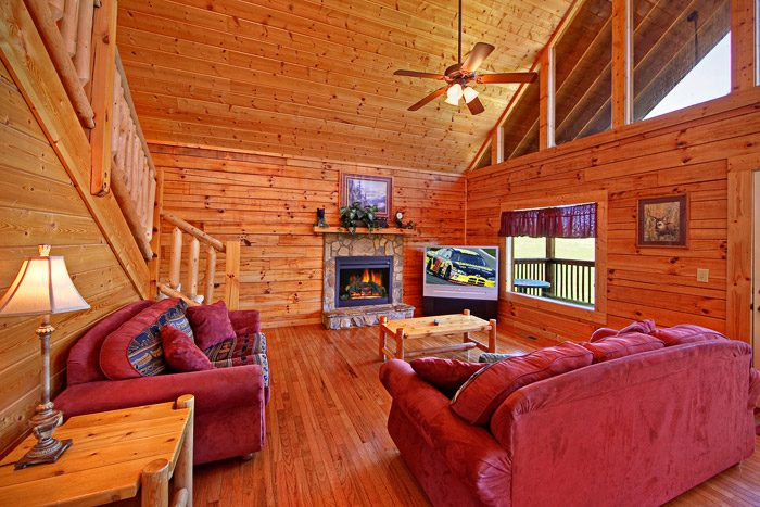 Cabin with Fireplace in Living Room - Big Bear Lodge