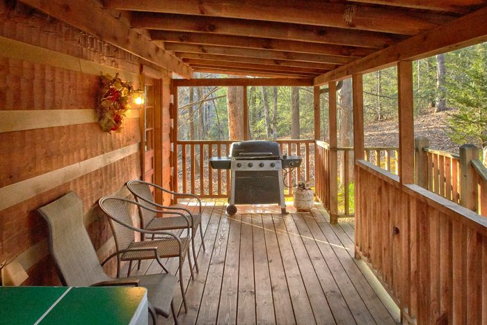 Cabin with Gas Grill on covered deck - Bluff Haven