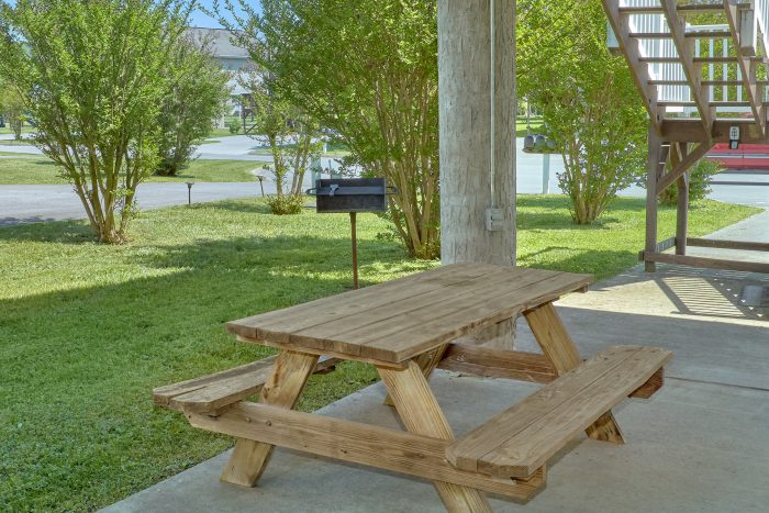 Picnic table and grill at cabin on the river - Dancing Bears
