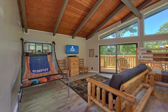 Cabin with Basketball Game and TV in Game Room - Forever Country