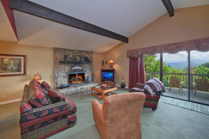 Great Views from Living Room of Gatlinburg Cabin - Hidden Peaks