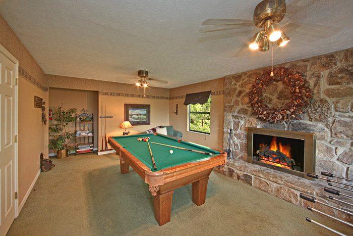 Pool Table and Foosball Table in Game Room - Hidden Peaks