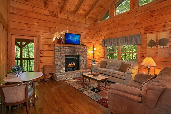 Living Room with Fireplace in the Smokies - Hunting Hollow Haven