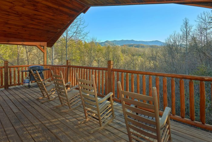 mountain on of deck smoky cabin cabins specials the rocking gatlinburg a pigeon chairs rental tennessee home forge two