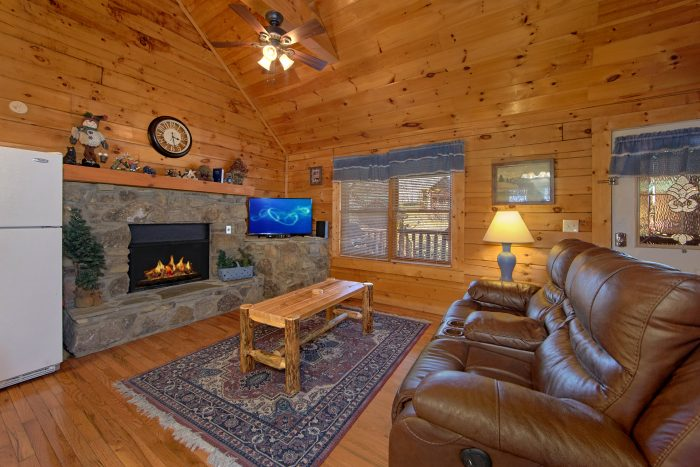 Living Room with Fireplace - Lil Cajun Cabin