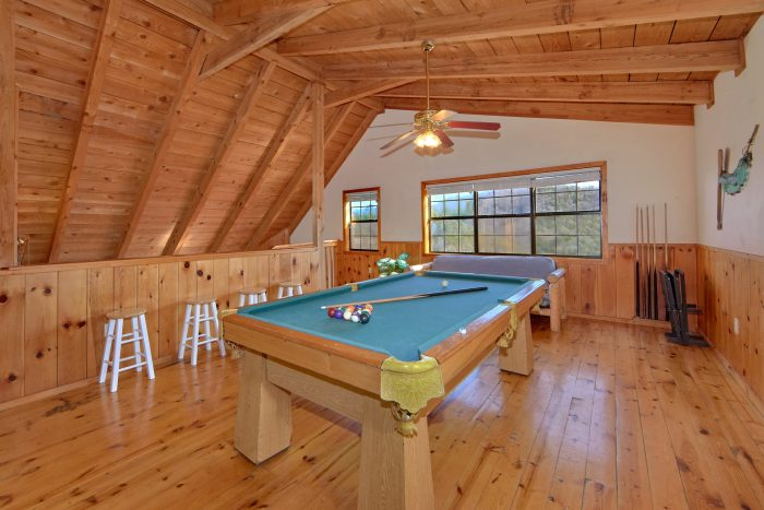 Game Room with Pool Table in Loft - Mountain Hideaway