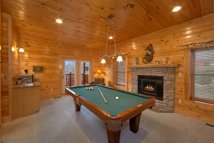 Game Room With Pool Table and Arcade Game - Mountain Sunrise