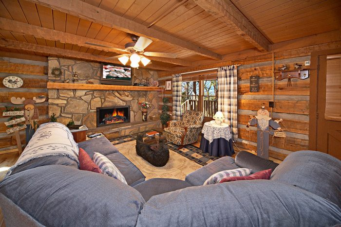Cabin with Rustic Living Room - Natures Heart