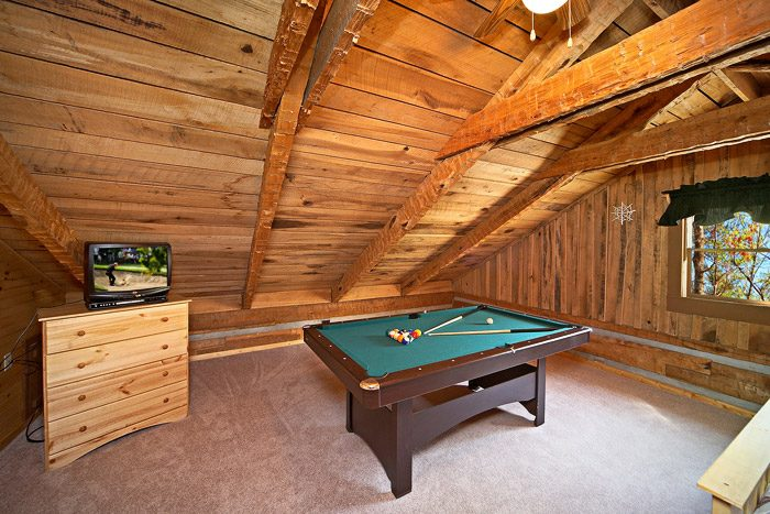 Pool Table in Queen Bedroom of Cabin - Natures Heart