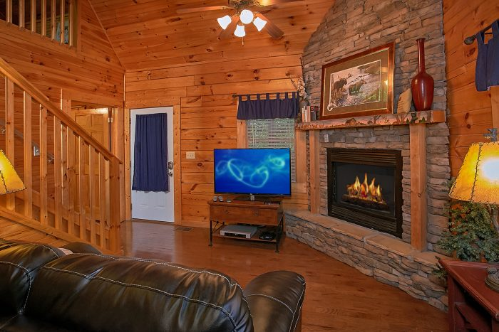 Large Stone Fireplace in 2 Bedroom Luxury Cabin - Reclusive Moose
