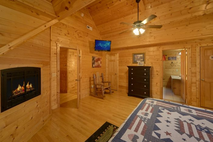 King Bedrooms that Features Cozy Fireplaces - Rocky Top Lodge