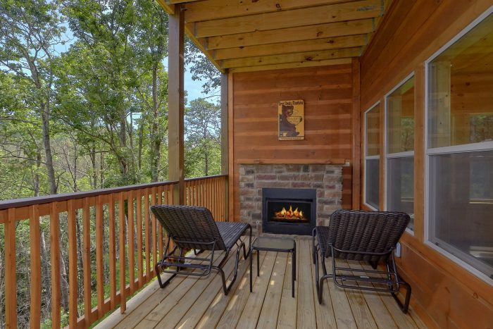Outdoor Fireplace on Deck 2 Bedroom Cabin - Scenic Mountain Pool
