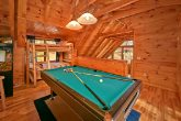 Cabin with loft game room and pool table
