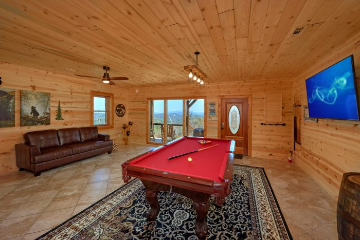 Leather Sofa Sleeps Game Room Pool Table - Sugar Bear View