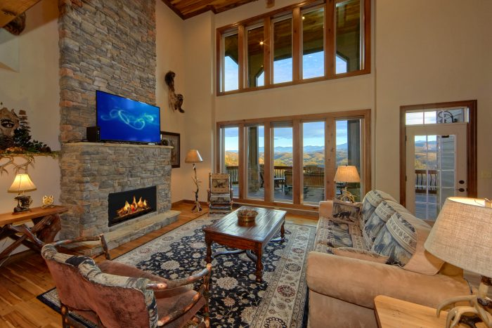 Living Area with floor to ceiling fireplace - Villa at Laurel Cove