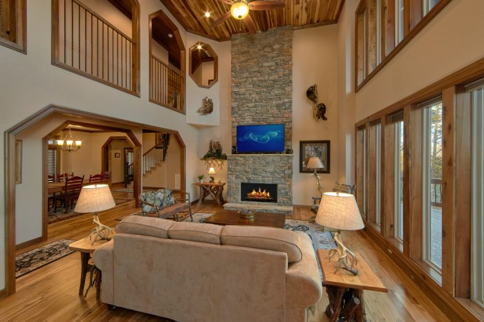 Spacious Living Room with Fireplace and View - Villa at Laurel Cove